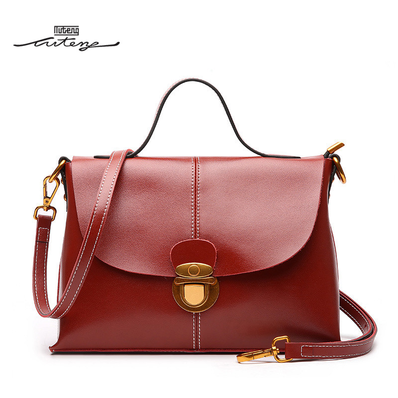 TU-TENG 2018 Fashion Women 2-Way Retro Buckle Messenger Bags Handbags Women Famous Brands Genuine Leather Elegant Solid G85690 tu teng women elegant doctor bag 2 way tote luxury leather pure color 2018 fashion zipper elegant design lady black khaiki red
