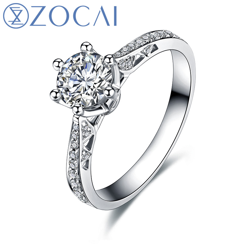 ZOCAI Love Is Destiny 0.42 CT Certified F-G / SI Diamond Engagement Women Ring 18K White Gold (Au750) W00105