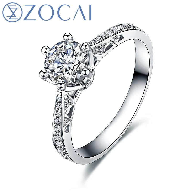 ZOCAI Love Is Destiny 0.42 CT Certified F-G / SI Anillo de compromiso - Joyas
