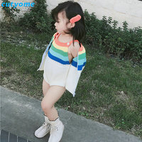 Baby Boys Girls Clothing Set Knitted Rainbow Coat Romper For Toddler Kids Cotton Boy Girl Christmas