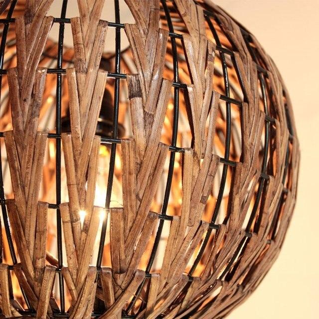 Lanterne ronde faite à la main rotin salon citrouille salle à manger suspension lampe asie du sud-est Restaurant luminaire suspendu