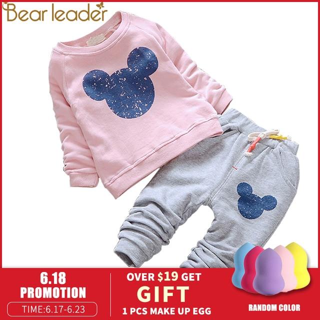 Bear Leader Baby Meisjes Kleding Casual Lente Baby Kleding Sets Cartoon Afdrukken Sweatshirts + Casual Broek 2 Stuks voor Baby kleding