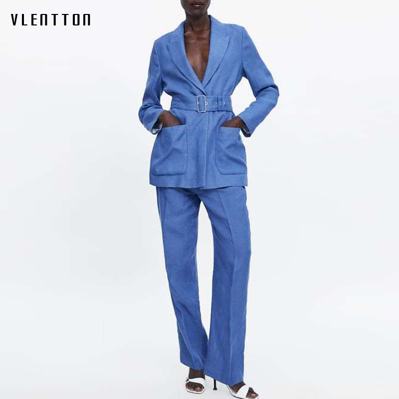 Blue Linen Women Pant Suits Belt Long Blazer Jacket High Waist Straight Pants Office Lady Two Piece Set Casual Female Trousers