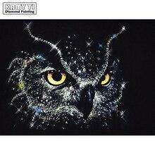 5D DIY Алмазная Вышивка Черная Алмазная картина сова вышивка крестиком полная квадратная дрель Стразы мозаика украшение дома