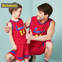 BALABALA Family Matching Outfits Father and Son Summer Sleeveless Cotton Cloth Sets Teenage Letter Print World Cup Style