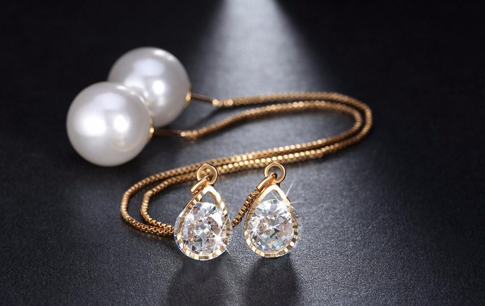 Effie Queen Fashion Cute Ear Wire Earrings Female Models Long Drop Crystal Imitation Pearl Jewelry Dangle Earrings Brincos DDE26 12