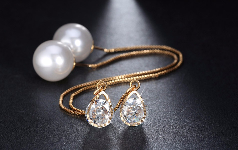Effie Queen Fashion Cute Ear Wire Earrings Female Models Long Drop Crystal Imitation Pearl Jewelry Dangle Earrings Brincos DDE26 12