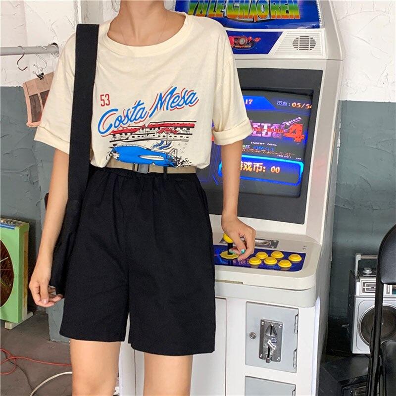 Sashes Elastic Waist Korean Shorts Summer Harajuku Streetwear Cargo Shorts Women Solid Color Pockets Chic Black Short Feminino in Shorts from Women 39 s Clothing