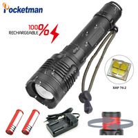 Brightest Lm Zoom able XHP70 LED Flashlight Aluminum Alloy Rotary Zoom 3 Modes Waterproof flash light for fish camp z45
