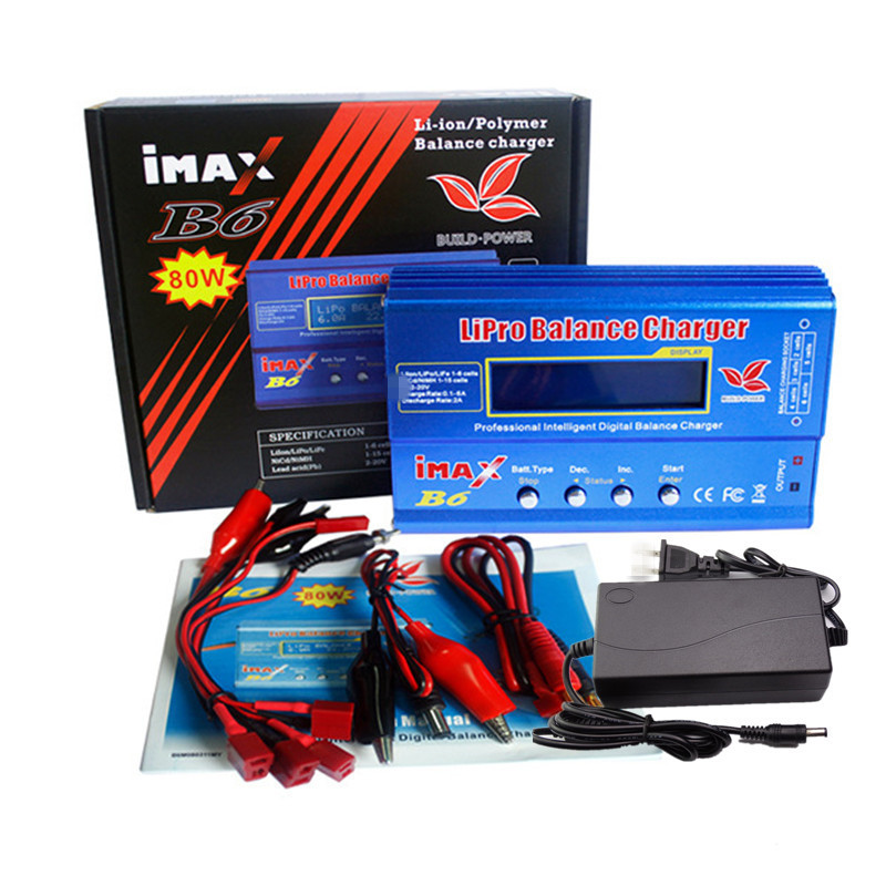 Imax B6 12v battery charger 80W Lipro Balance Charger NiMh Li ion Ni Cd Digital RC Charger 12v 6A Power Adapter EU/US Charger-in Chargers from Consumer Electronics