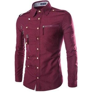 Image 3 - ブランド男性シャツ2020ファッションデザインメンズスリムフィットコットンドレスシャツスタイリッシュな長袖シャツシュミーズオムカミーサmasculina