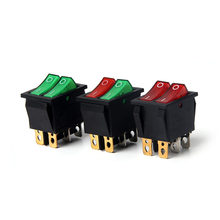Kcd8 15A 250v AC double pole double gang rocker switch 2 way สีแดงทองแดงสีแดง 220v on off สวิทช์ 6 pins(China)