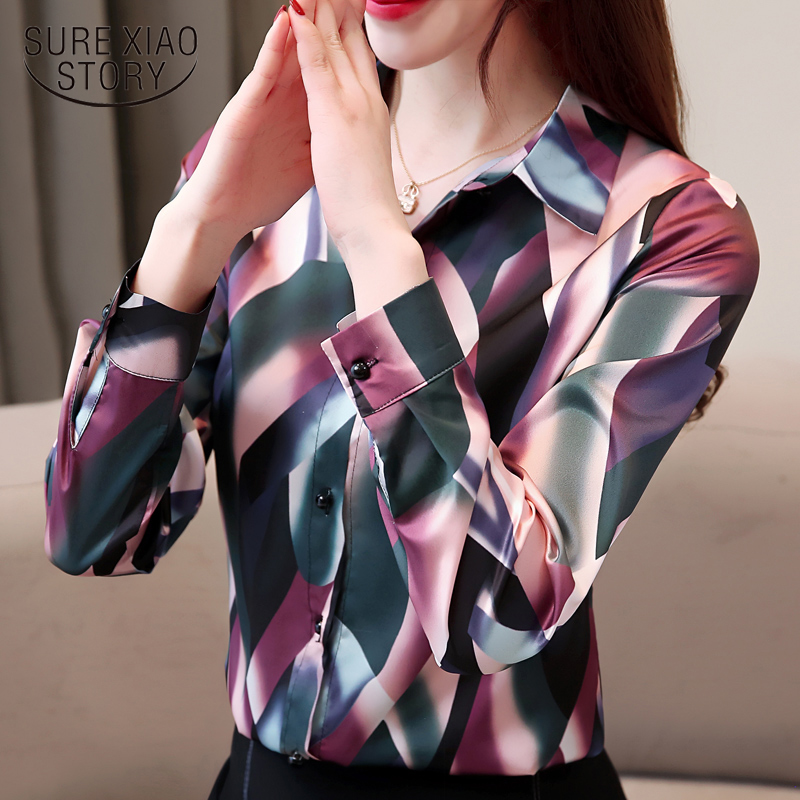 fashion woman   blouses   2019 print chiffon   blouse     shirt   long sleeve women   shirts   turn down collar striped office   blouse   2452 50