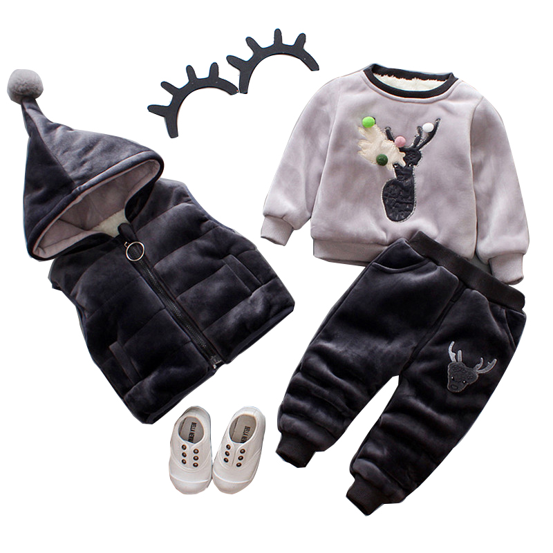 2017 boys and girls winter Winter Thicken Fleece Sets Hoodies baby sweater clothing with thickened Coat+Vest+Pants 3 Pcs Suits