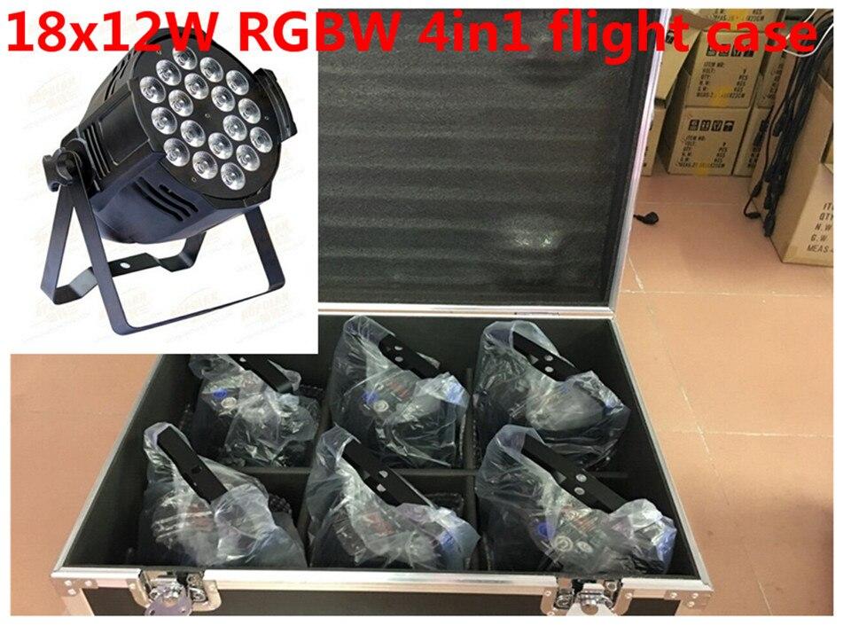 6 X18x12 W LED Par Luces con flight case 1 Llevo la Luz de Par RGBW 4in1 LED Par DMX 6/8 Canales Led Flat Par LED de Lujo luces