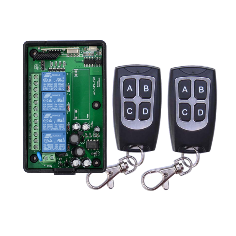 AC 85V~250V 110V 220V 4CH RF Wireless Remote Control System / Radio Switch remote switch 220v Learning code receiver ac 85v 250v 1ch rf wireless remote control switch system 1 transmitters