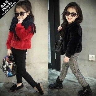 2016 марка искусственный мех девушки куртка зимняя детская одежда для девочек партии о-образным вырезом детей и пиджаки бургундия черный hoddies костюм 2-7Y