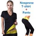 Hot Shapers Mulheres Neoprene Emagrecimento Calcinhas Controle Calças Traning Camisetas 2 pçs/set Definir Suar Shapewear