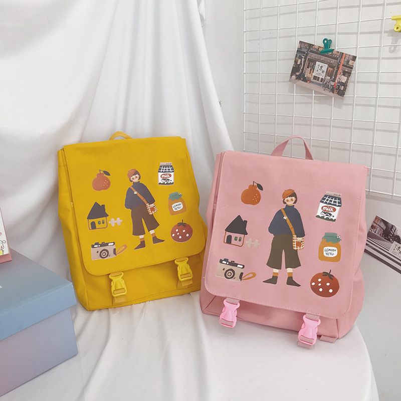 2019 Girls Ins Canvas Shoulder Bag Feeling Soft Girls Backpacks Academic School Students School Bags Female