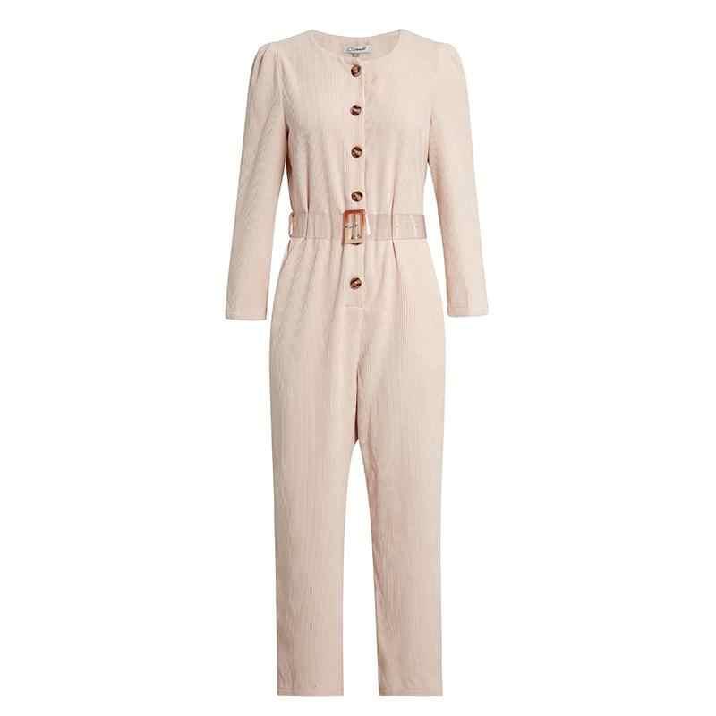 Женская уличная легкая розовая Вельветовая облегающая длинная комбинезон осень-зима, модные женские комбинезоны с высокой талией и длинными рукавами
