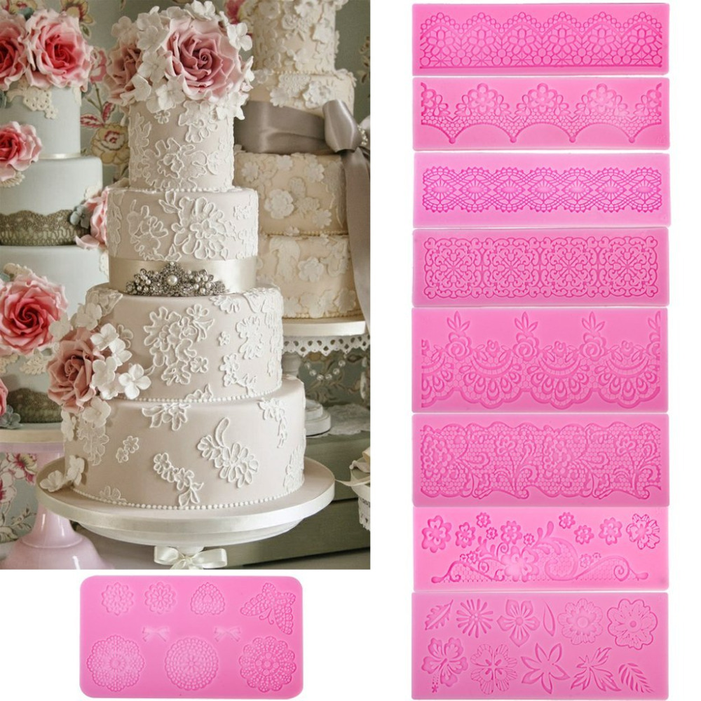 DIY 3D Silicone Fondant Lace Pattern Sugar Craft Mat Cake