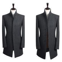 Оптовая подростков прилив пальто зимой стенд воротник мужской шерстяной пальто середине-длинный участок Подарки бренд пальто манто homme S-9XL
