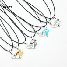 Black Cord Pendant for Couples Heart Stainless Steel Necklace Engrave Love Necklaces Women and Men Fashion Jewelry Pendants Gift