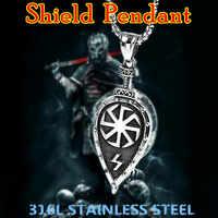 KLDY Viking Schild Halskette Anhänger Slawischen Amulett Anhänger für Frauen Männer Edelstahl Nordischen Viking Halskette suspension schild