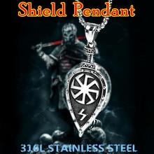 KLDY Viking Shield Necklace Pendant Slavic Amulet for Women Men Stainless Steel Norse suspension shield