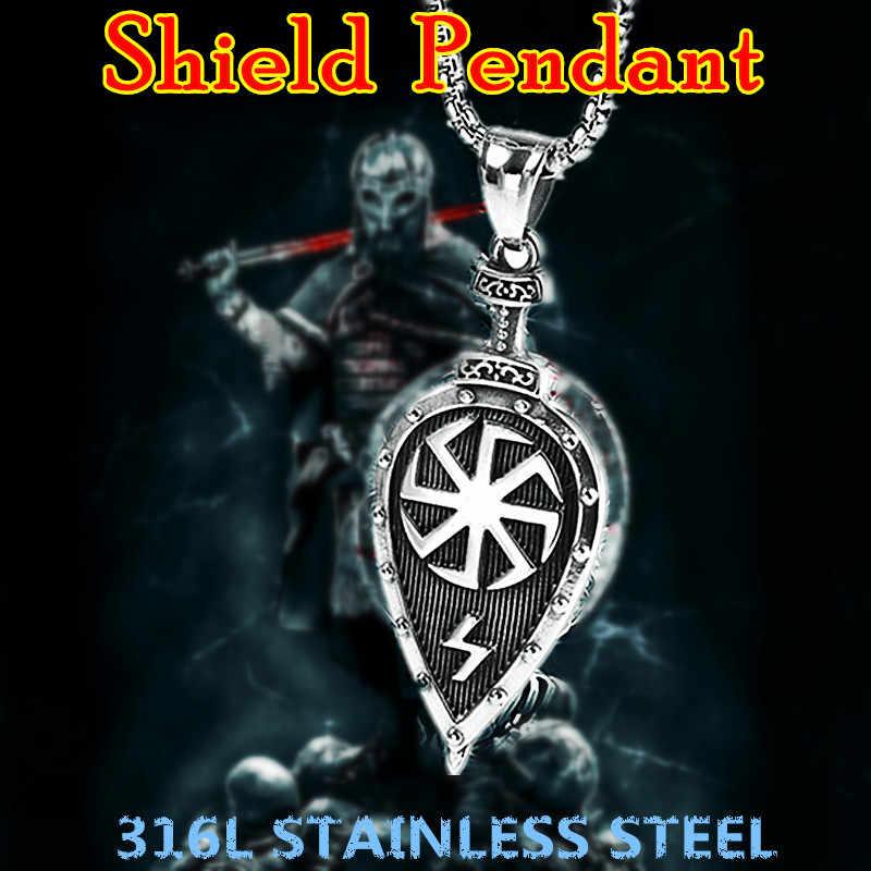 KLDY ויקינג מגן שרשרת תליון סלאבית קמע תליון לנשים גברים נירוסטה הנורדית ויקינג השעיה שרשרת מגן