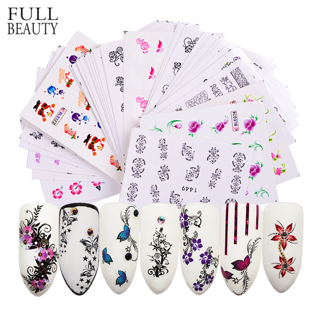 50pcs Promotions Nail Art Stickers Flower Long Vine Black Lace Decals Decorations Manicure DIY Styling Wraps Tools XF1422 1469