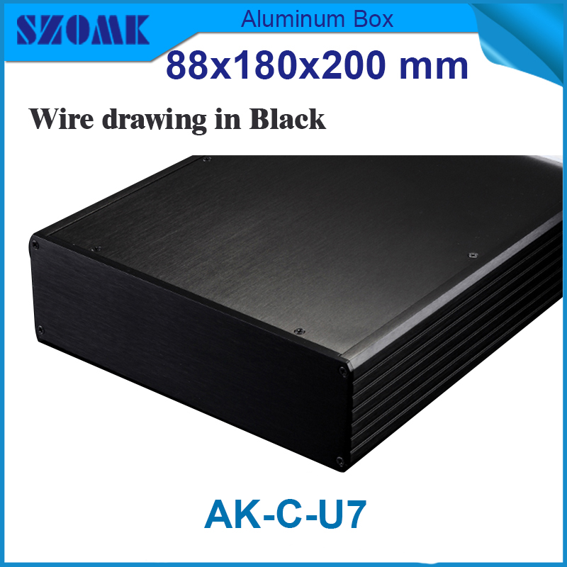 1 piece anodized aluminum box extruded aluminum profiles 88(H)x280(W)x200(L) mm metal junction box 1 piece free shipping wire drawing black color 45 h x152 w x200 l mm aluminium junction box manufactures in china