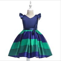 Hot Sale Bow Striped Princess Of Girls Baby Reception Formagirls Clothes Ball Gown For Girl Dress