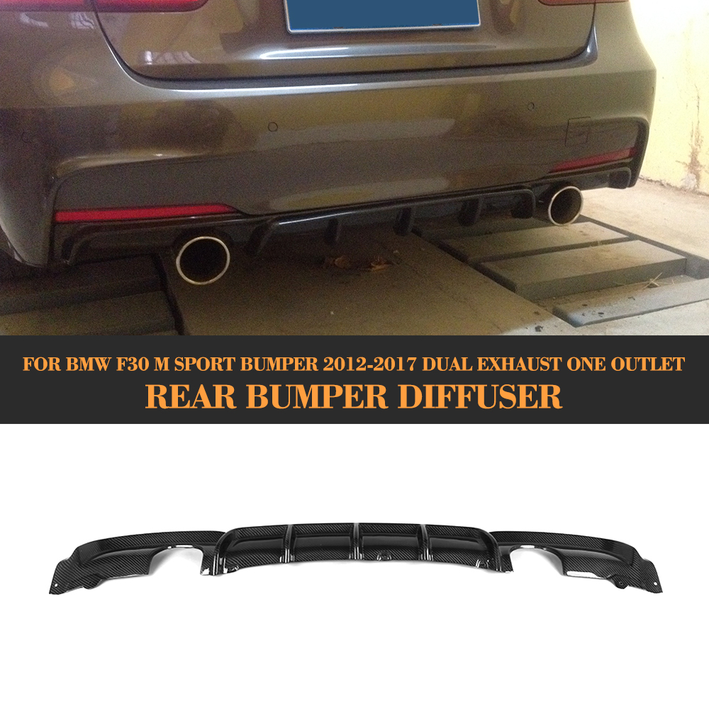 3 Series Carbon Fiber Car Rear Bumper lip spoiler Diffuser for BMW F30 M Sport Bumper 12-17 dual exhaust one outlet Black FRP lamania lamania la002ewhlm73