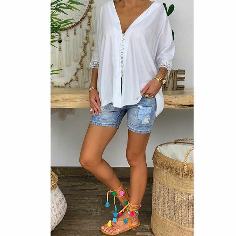 Yeni moda kadın V boyun yarım kollu gömlek yaz düz renk düğmesi üstleri rahat gevşek bluz artı boyutu