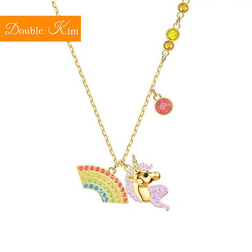 Rainbow Unicorn Zircon Pendant Necklace Titanium Stainless Steel Inlaid Zircon Gold Chain Necklace Fashion Women Jewelry Gift