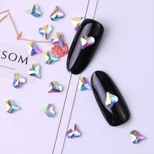 10 pieces Flatback Colorful Heart Nail Rhinestone For Art Decorations Crystal Glass Stone Manicure 3D Shiny Gem