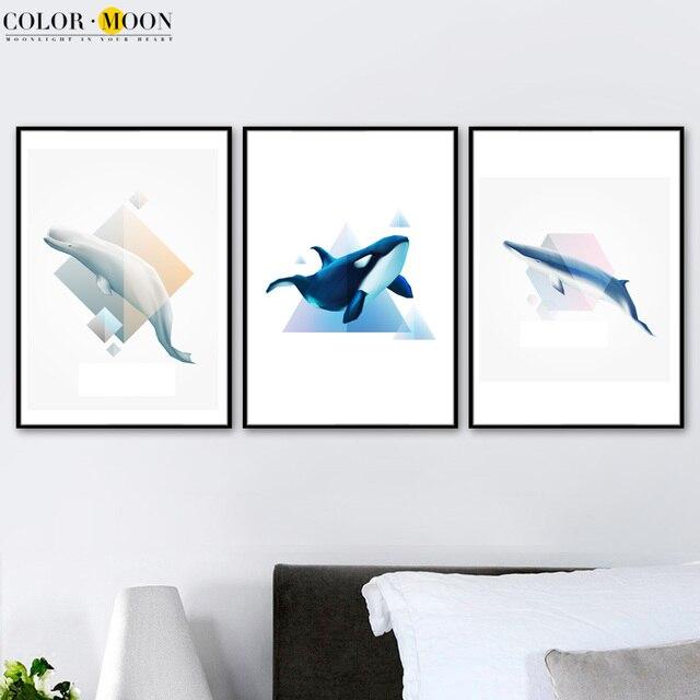 Us 926 Colormoon Whale Geometryczne Wall Art Canvas Malarstwo Plakat Nordic I Druku Zwierząt Płótno Wall Art Zdjęcia Living Room Decor W