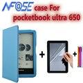 Искусственная кожа фолио чехол для pocketbook ультра 650 6 ''дюймовый корпус анти-вода e-inch reader cover с handholder + экран стилус