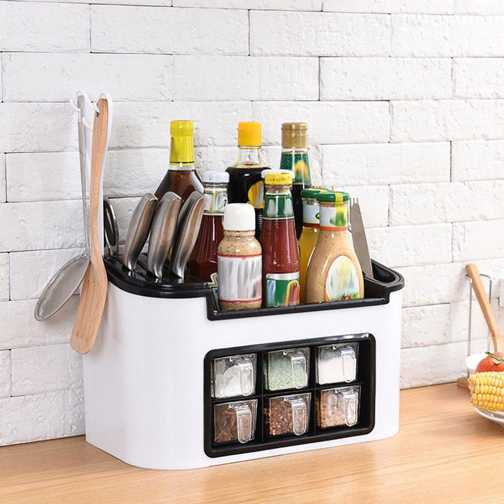 509.43руб. 27% СКИДКА|Многофункциональная кухонная стойка приправа коробка приправа банка набор бутылок Комбинированный держатель ножа|Подставки для хранения и стеллажи| |  - AliExpress