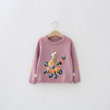 Children Sweaters 2017 Autumn European&American Baby Girls Embroidery Deer Dots Tops Kids Pull-over Knitting Shirts Girls Coats