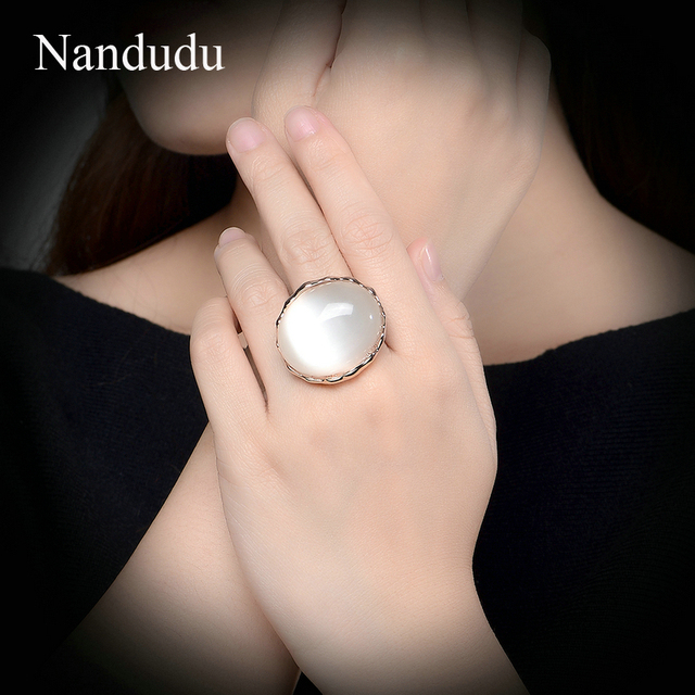 Nandudu Luxury Big Opal Ring New Arrival Style for Women Girl Constant Love Vint
