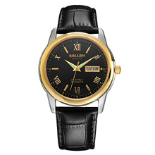 SOLLEN Luxury Brand Watch Classic Men Waterproof Automatic Mechanical Men Watch Business Leather Wristwatch Hombre Horloge