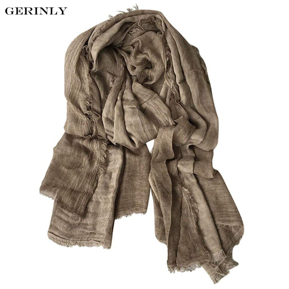 New Fashion Cotton Linen   Scarf   Brand Warm Long Shawls Soft Lightweight   Scarves   Crinkle Striped   Wrap   for Men and Women