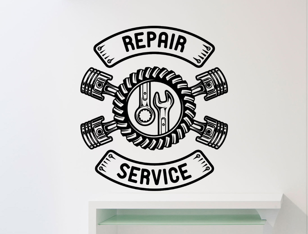 repair service wall sticker car workshop logo auto service vinyl decal home interior decoration. Black Bedroom Furniture Sets. Home Design Ideas