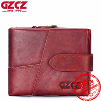 GZCZ Genuine Leather Women Wallet Luxury Brand Lady Small Walet Portomonee For Girls Mini Pocket Perse