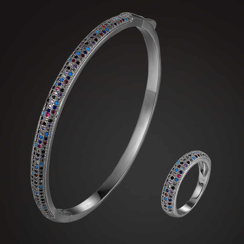 Zlxgirl женский размер идеальный кубический циркон браслет с кольцом аксессуары