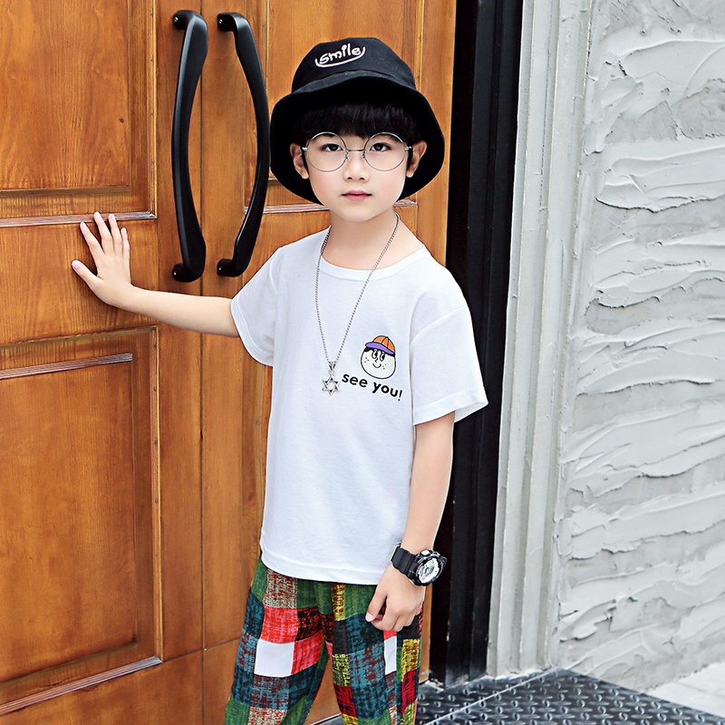 Feiluo 2019 New Letter Print Boy Shirt Children kids white o neck shirts Summer Boy shirt Tops for 3 4 5 6 7 8 9 years FTTX353 in Shirts from Mother Kids
