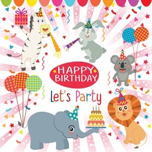 Laeacco Happy Birthday Animals Balloon Scene Baby Photography Backgrounds Customized Photographic Backdrops For Photo Studio