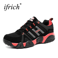 New Cool Couples Sport Running Shoes Lace Up Athletic Footwear Men And Women Black Running Sneakers